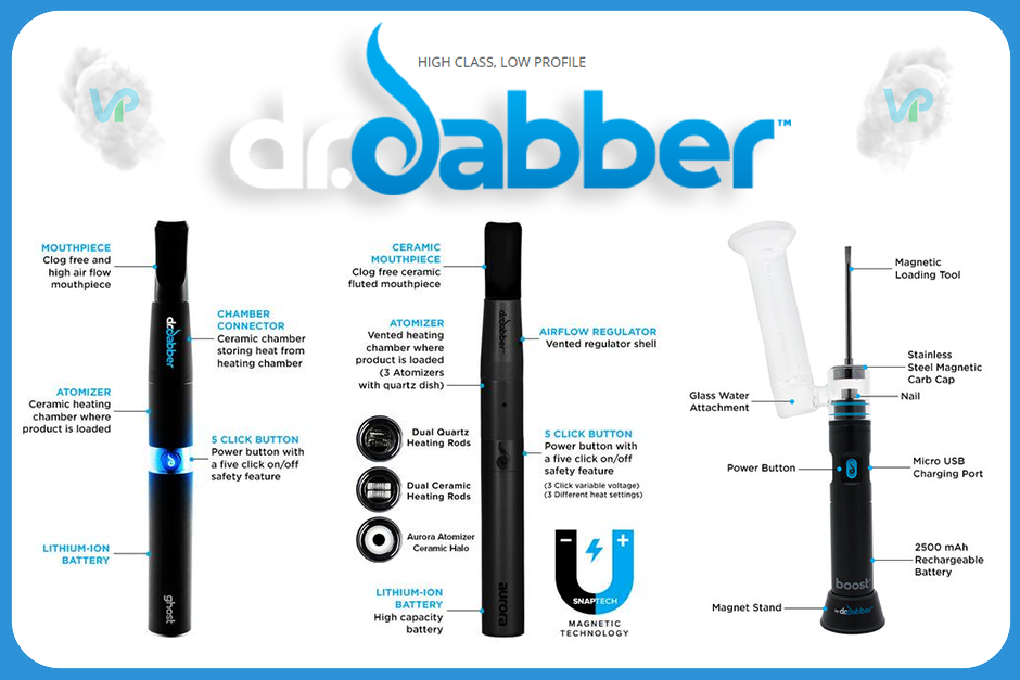 Dr Dabber Vaporizers for Marijuana Wax side by side
