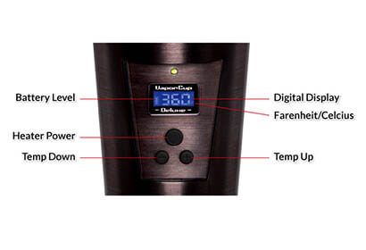 Vapor Cup digital display diagram and functions