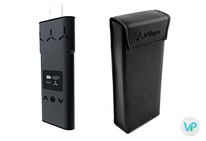 AirVape XS in black next to a leather pouch case