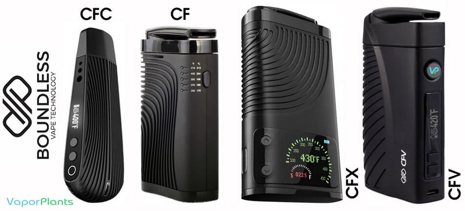 Boundless Cannabis Vaporizers side by side - CFC vs CF vs CFX vs CFV