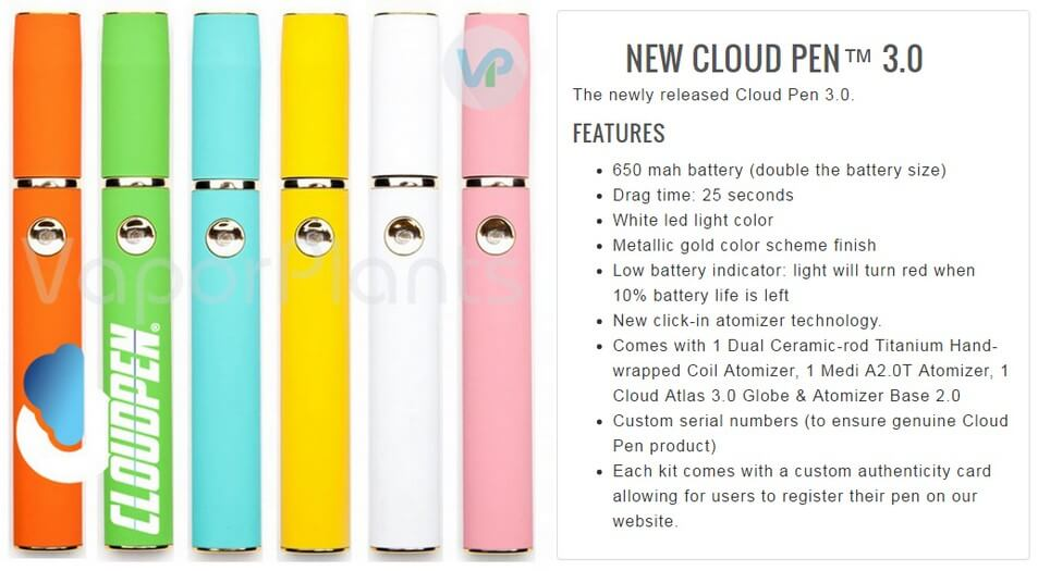 Cloud Pen 3.0 Cannabis Vaporizer Pen Information