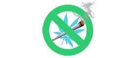 stop smoking cannabis shown with green do not sign