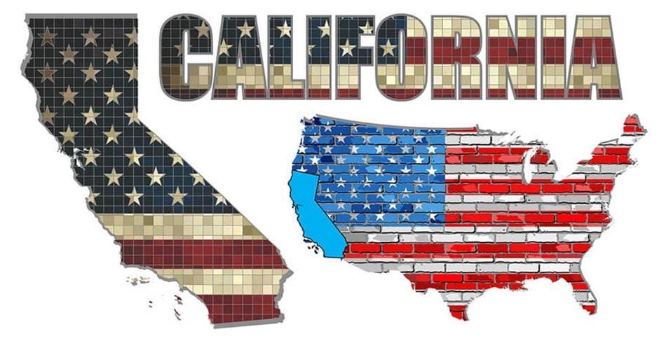 California next to USA map