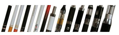 Electronic cigarette, vape pens and Mechanical Mods are next to each other showing their sizes