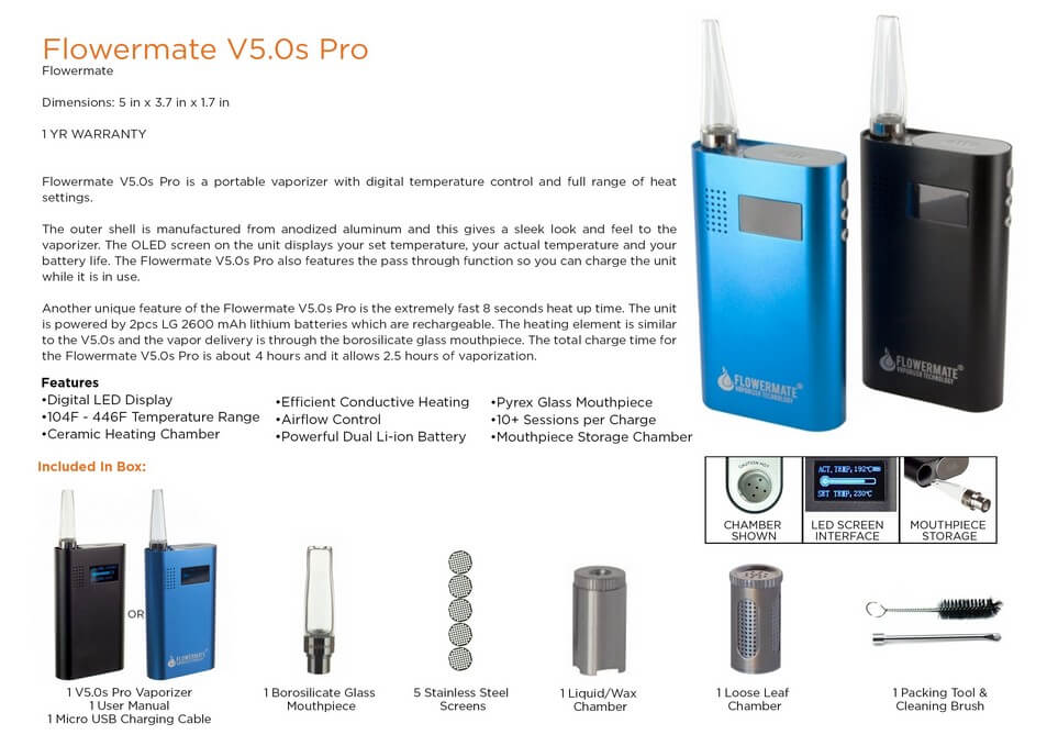 Flowermate Cannabis Vaporizer V5.0S Pro Information