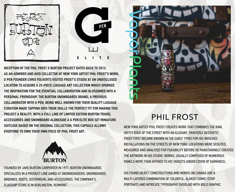 G Pen Elite Phil Frost X Burton Edition Vaporizer for Marijuana Info-Graphics