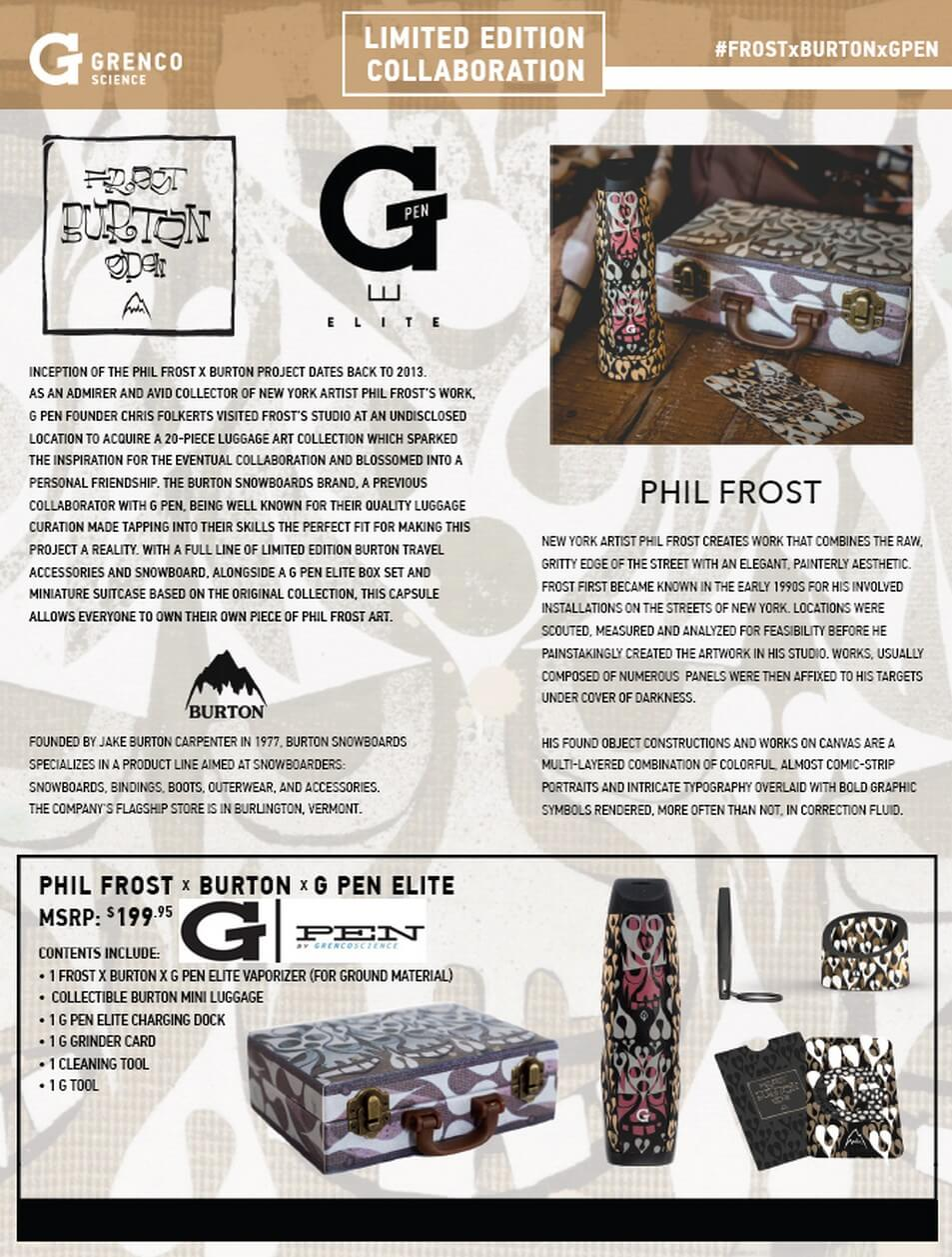 G Pen Elite Phil Frost X Burton Edition Vaporizer Info-Graphics