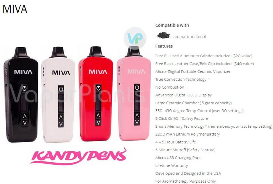 KandyPens MIVA Herbal Vaporizer Features