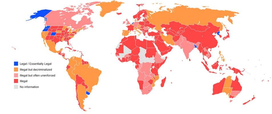 2016 Marijuana Legalization World Map