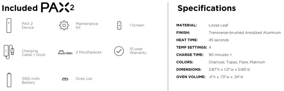 Pax 2 Features and Specifications