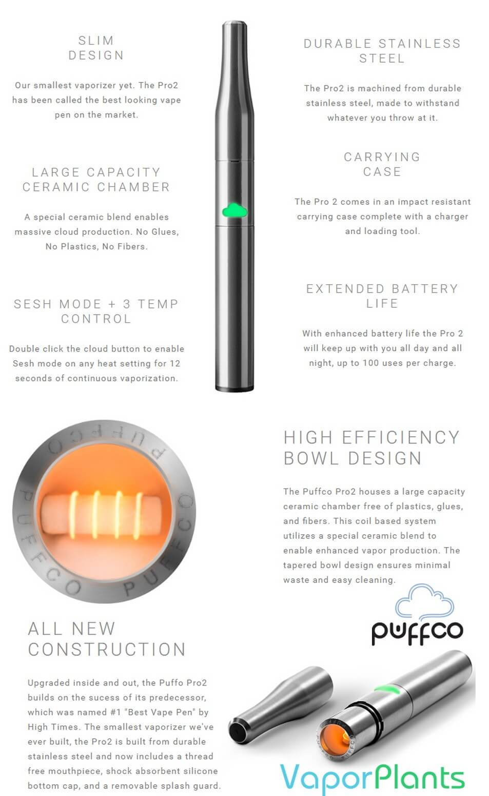 PuffCo Pro 2 Vape Pen for Waxy Cannabis Features