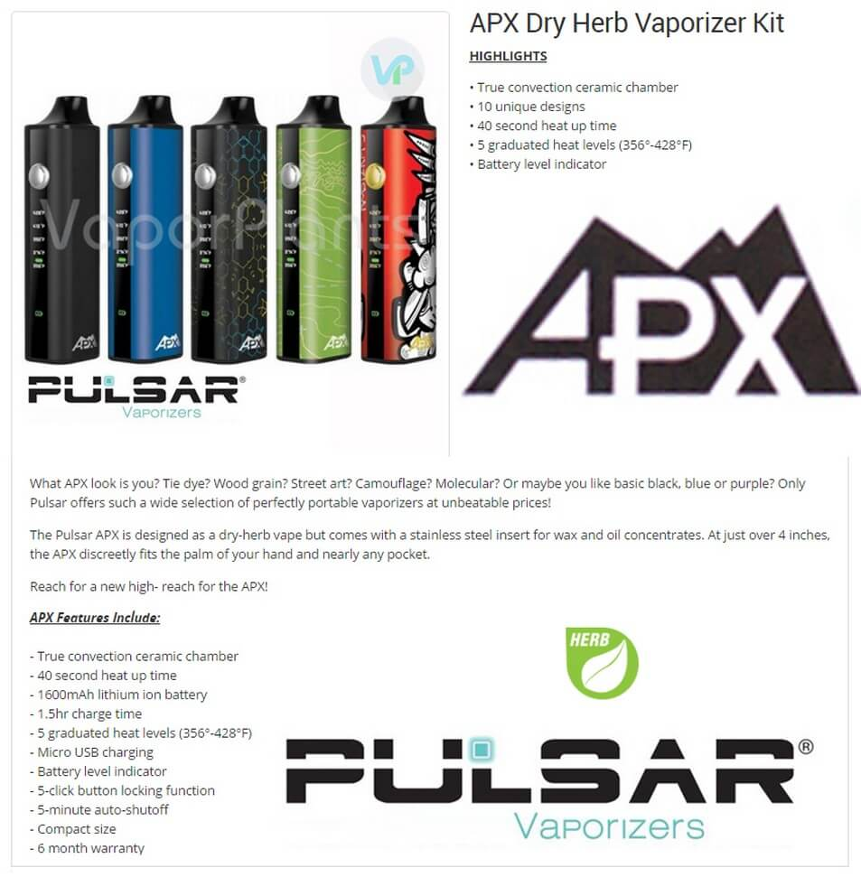 Pulsar APX Herbal and Wax Vape Information