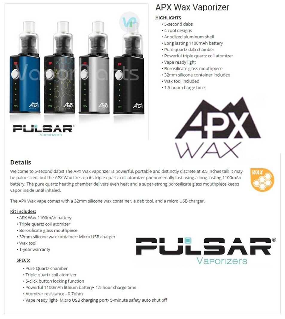 Pulsar APX Wax Vaporizer Information