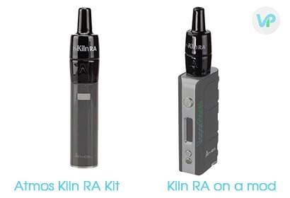 Atmos Kiln RA kit next to Atmos Kiln atomizer on a vape mod box