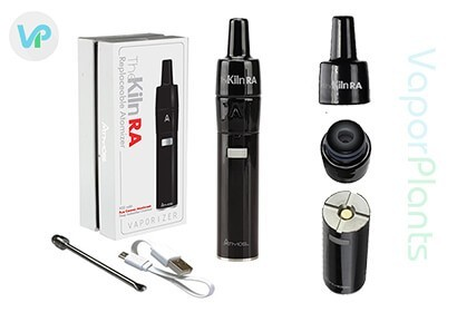 Atmos Kiln RA in black package next to charger and wax tool pick