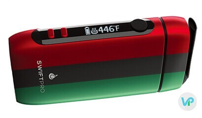 Flowermate Swift Pro vape digital screen for temperature showing green, black and red in one