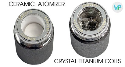 KandyPens Gravity ceramic heating chamber next to crystal heating chamber with titanium coils