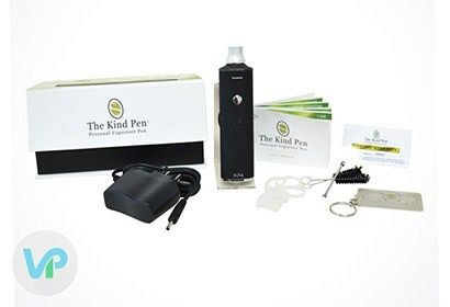KindPen TruVa next to the charger, manual, cleaning brush and loading tool
