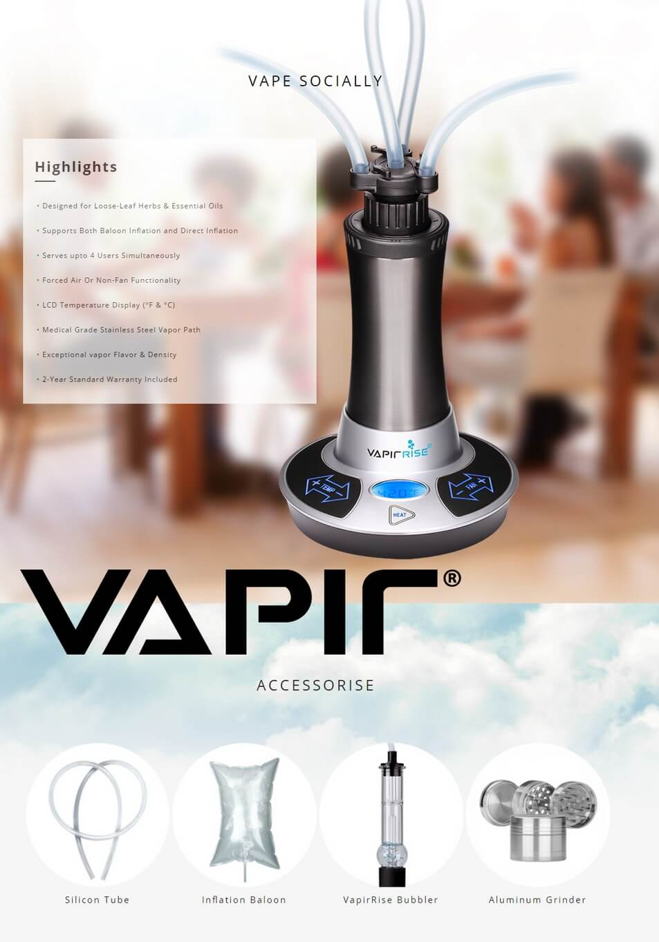 Vapir Rise 2.0 for Dry Herbs, Waxes and Oils Information