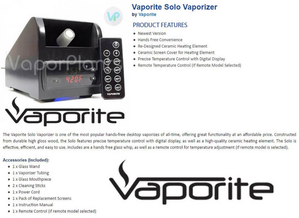 Vaporite Solo Desktop Vaporizer Information