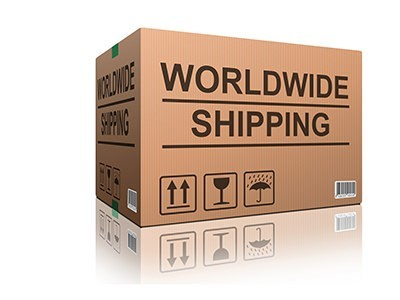 Brown Box with World Wide Shipping on it