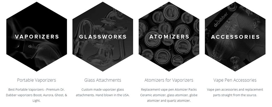 Dr Dabber Vaporizers, Glass Water Pipes, Atomizers and Parts Banner