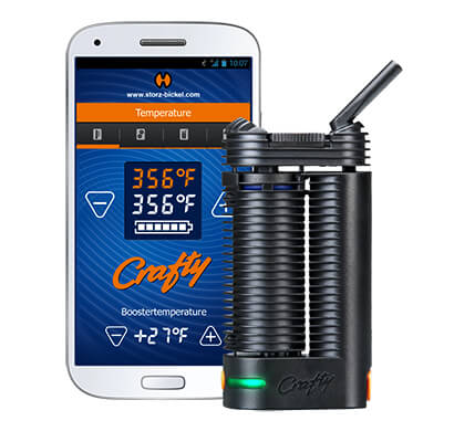 Crafty Vaporizer for Cannabis and iphone app shown