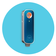 Firefly 2 Vaporizer for Cannabis on Blue Background