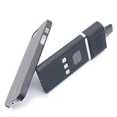 AirVape Herbal Vaporizer sized compared to Mobile Phone