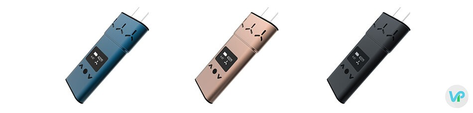 AirVape XS vaporizer in blue, black and rose gold