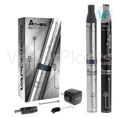 Atmos Boss Vaporizer Silver and Black next to a Box and Accessories