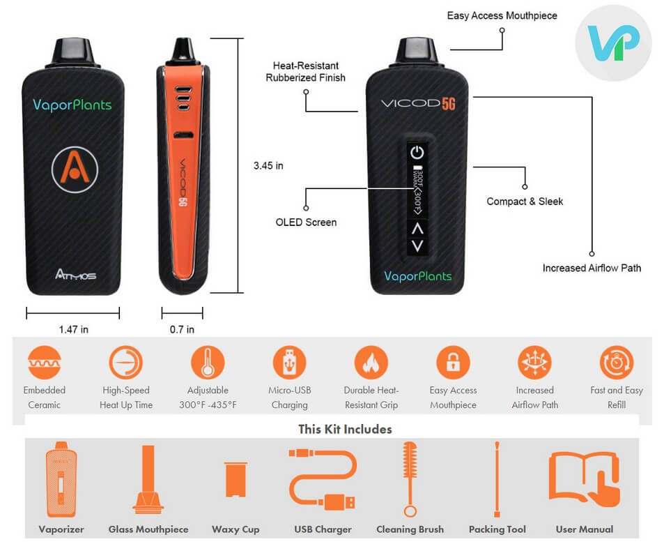 Atmos Vicod 5G 2nd Generation Features - Marijuana Vaporizer