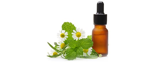 Chamomile next to an oil drip bottle - Benefits in Herbal Solutions vs. Prescription Drugs