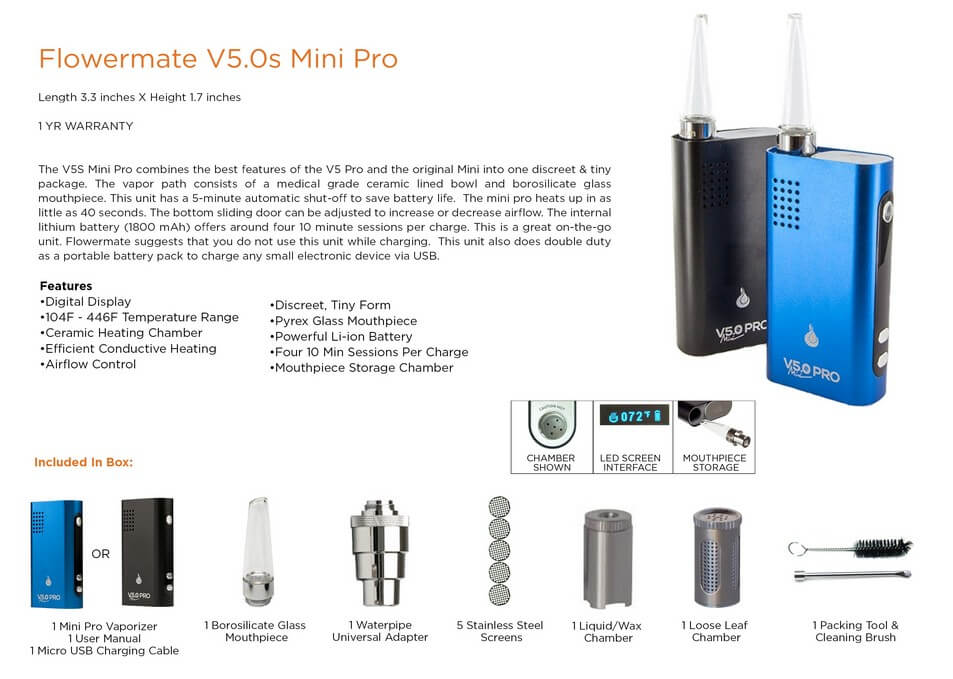 Flowermate All-in-One Vaporizer V5.0S Pro Mini Information