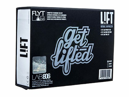 FlyTLAB Lift vaporizer packaging box with details
