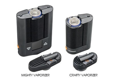 Mighty portable vaporizer next to Crafty Vaporizer with open heating chamber