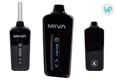 KandyPens Miva vaporizer in black color showing the back, front and mouthpiece
