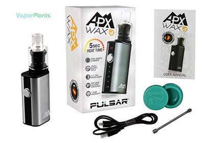 Pulsar APX for concentrate oils next to box, manual, silicon wax jar container, dab loading tool pick and USB charger