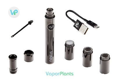 Qloud Up Nexus battery, loading tool for wax, mouthpiece, atomizer and usb charger