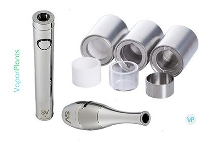 Source Orb 4 battery and mouthpiece open, next to ceramic, glass and stainless steal atomizers trays