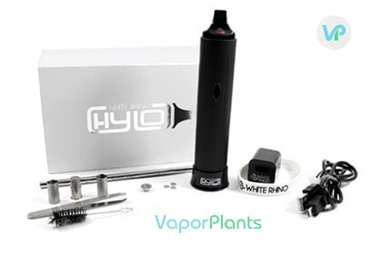 White-Rhino Hylo next to box, heating chambers, cleaning brush, loading tool, USB charger and screens