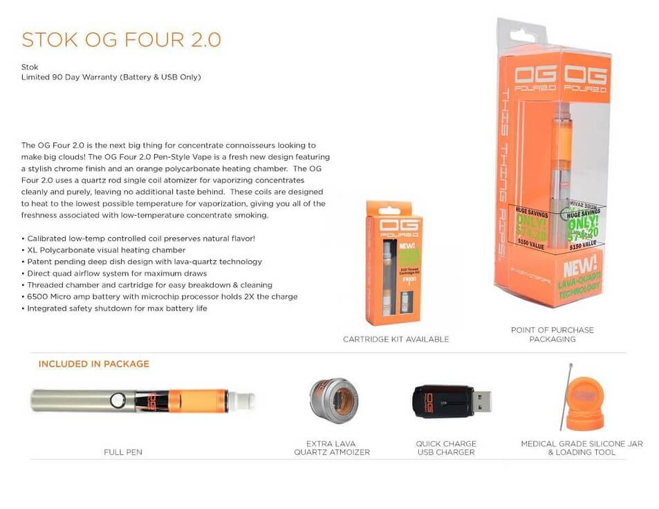 Stok OG Four 2.0 Vape for Marijuana Wax Features