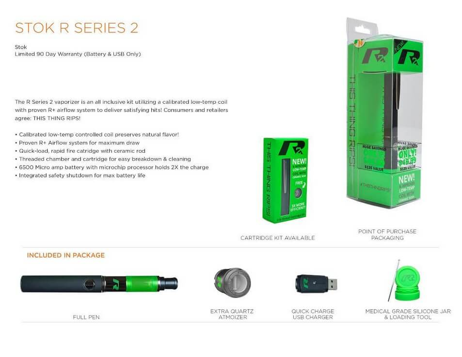 Stok R Series Roil Vaporizer for Wax Features