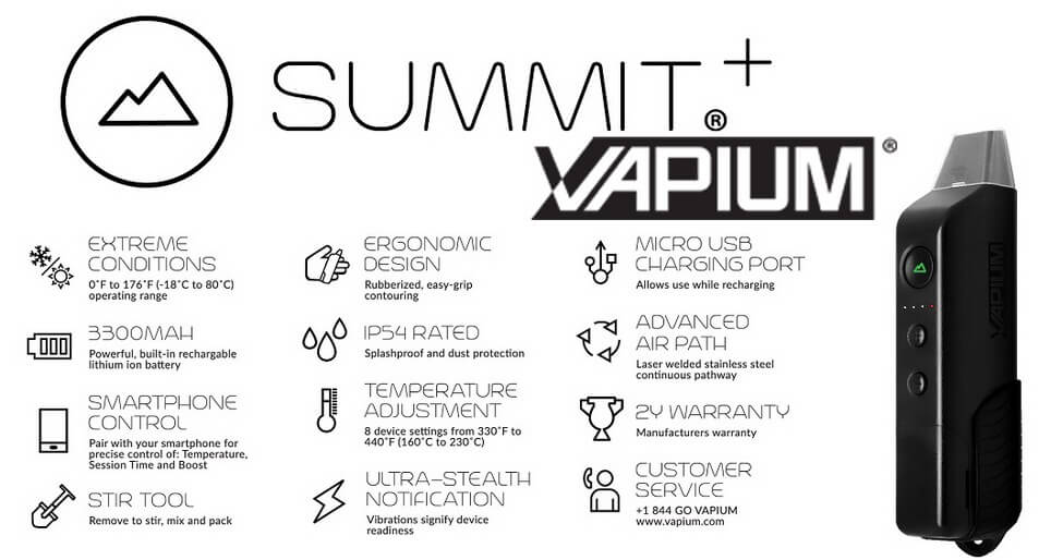 Vapium Summit Plus Dry Herb Vaporizer All Features
