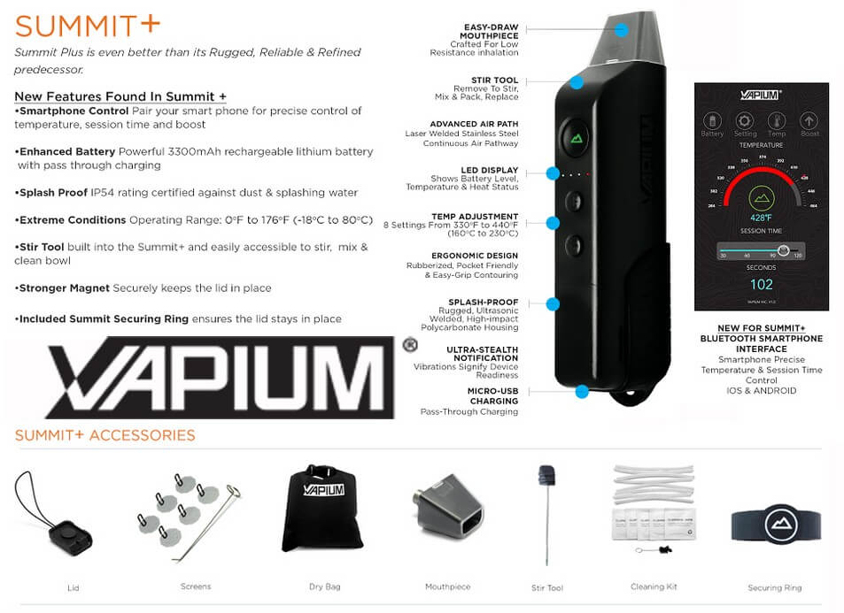 Vapium Summit Plus Dry Herb Vaporizer Information
