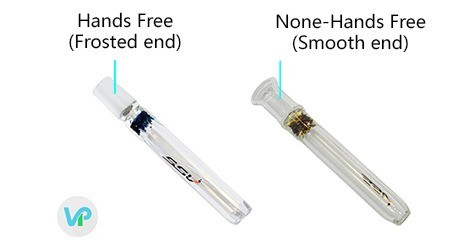 vaporizer hands free wand with frosted tip vs non-hands free wand that is smooth
