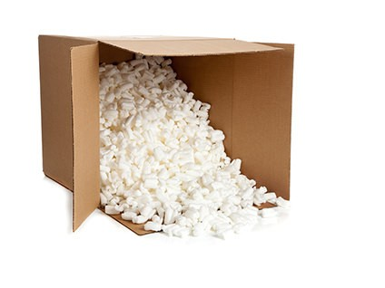 Shipping Policy box with spilled Foam Peanuts VaporPlants
